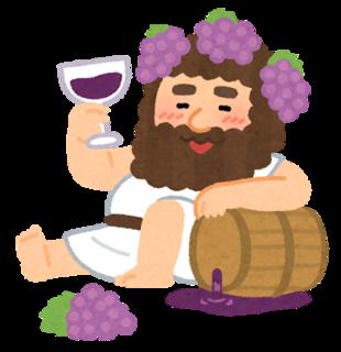 美味しそうにぶどう酒(ワイン)を飲むギリシャ神話に登場する酒の神様、バッカスのイラスト